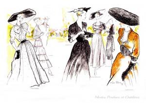 Les plus élégantes robes de haute couture, magnifiques exemples de l'élégance francaise de la fin des années 40, signées Jacques Griffe, Carven, Balenciaga, Mad Carpentier, Molyneux, et Robert Piguet. La splendide illustration est signée Pierre Simon.