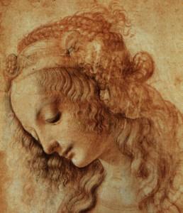 Leonard de Vinci - Dessin d'une tete de femme