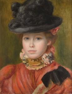 Jeune fille au chapeau noir à fleurs rouges, vers 1890