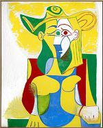 Femme assise au chapeau jaune et vert, 1962