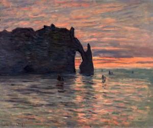 """Claude Monet: """"Coucher de soleil à Etretat"""" 1883"""