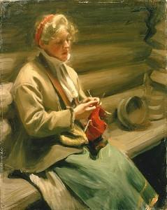 Fille de Dalécarlie tricotant 1901